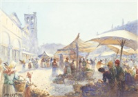 the market place, ferrara by john ernest aitken