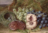 grapes, a fig, peach and bird's nest on a mossy bank by william h. ward