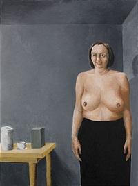 självporträtt med svart kjol (bara bröst) by margareta renberg