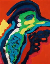 composition with bird by karel appel