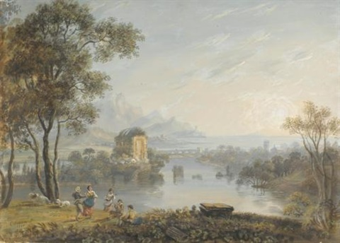 figures dancing and playing musical instruments in a claudian landscape by adam callander