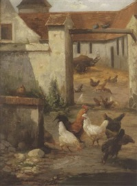 farmyard scene by louis marie lemaire