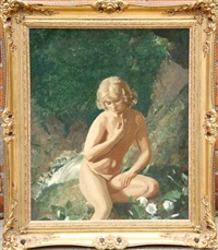 seated nude by waterfall by john bulloch souter