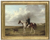 portrait of a gentleman on his piebald hunter, a pointer to his side, in an extensive landscape by george henry laporte