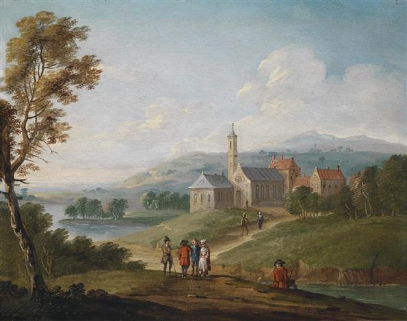 flusslandschaft mit einem dorf und wanderern by jan-peter van bredael the younger
