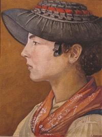 portrait d'une jeune fille d'evolène by emile martin