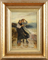 waiting for the fleet's return - two cullercoats fisherwomen on a stormy shore by robert jobling