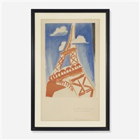 eiffel tower print by sonia delaunay-terk and robert delaunay