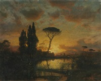 italian landscape at sunset by william stanley haseltine