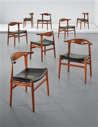 set of eight 'cowhorn' dining chairs, model no. jh 505 by hans j. wegner