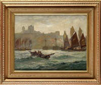 fishing boats at the entrance to whitby harbour with the abbey in the distance by joseph richard bagshaw