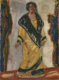 woman in yellow coat by georgiy bogdanovich yakulov