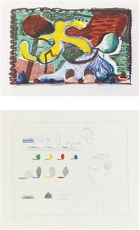 the new and the old and the new; and the poet (m.c.a.t. 326 and 190); 2 works) (from the blue guitar) by david hockney