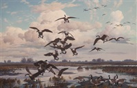 autumn's echelon- canada geese by harry curieux adamson