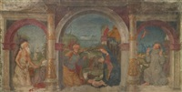 the nativity with st. jerome and st. francis of assisi receiving the stigmata (fresco from the court of the casa lanfranchi) by maveolo da cazano