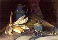 still life with a fan and ginger jar by frits mondriaan