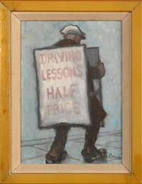 half price driving lessons - a sandwich board man by norman cornish