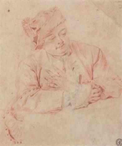 un homme assis à une table regardant vers la bas by jacques andré portail