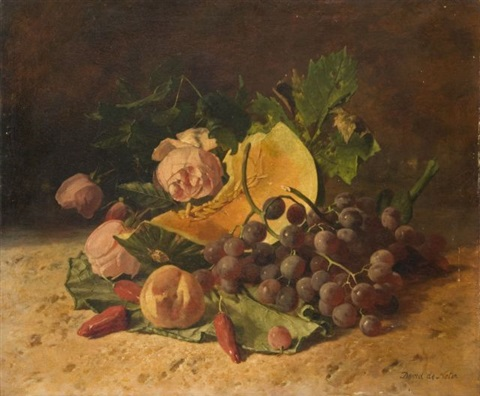 composition aux raisins melon et aux roses by david emile joseph de noter