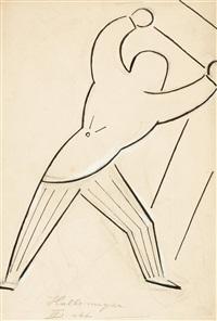 hallemeyer - entwurf eines kostüms für den 2. akt des stücks r.u.r. by josef capek