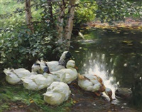 sechs enten am teichufer by alexander max koester