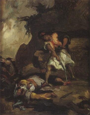 scène de combat pendant les guerres dindépendance grecques by henri léopold lévy