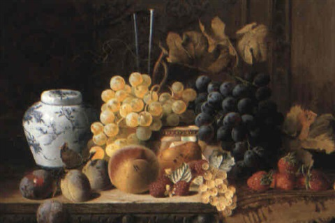 fruit still life with ginger jar and rug on carved table by charles e baskett