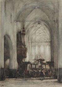 attending a service in the church of hattem by johannes bosboom