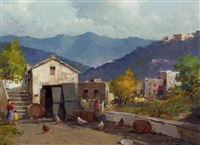 a farmstead with chickens by fortunato fontana