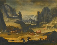 mountainous landscape with cows, herders and wolves by paul bril
