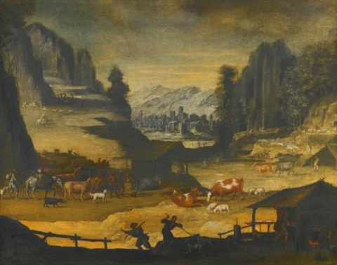 mountainous landscape with cows herders and wolves by paul bril