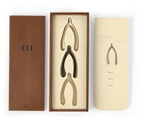 iii (three wishbones in a wood box) (set of 3) by lorna simpson