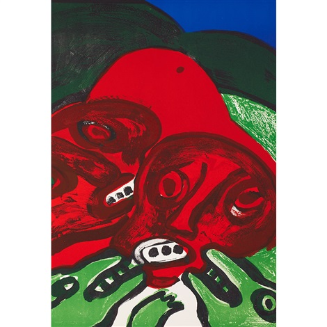 untitled (green man with red eye); untitled (face with blue, brown and orange eyes); untitled (red faces and animals (3 works) by bengt lindström