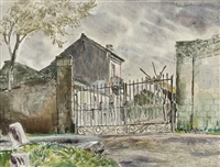 deserted villa near maddaloni, s. italy (+ 3 others, various sizes; 4 sketches) by norman clark