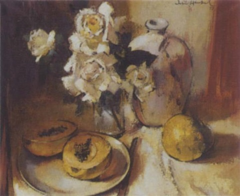 still life with roses and pawpaws by irmin henkel
