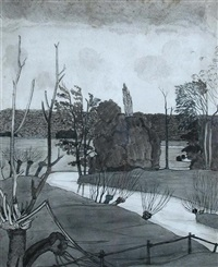 a monochrome double-sided study of a river landscape by john northcote nash