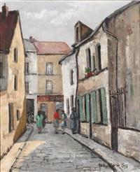 figures on a belgian street scene by théodore de laps