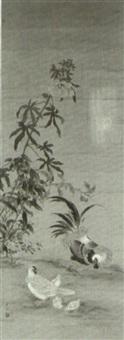 hühnerfamilie mit drei küken unter einer malve und anderen herbstpflanzen by okamoto shuki