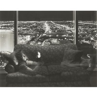 nathan noland, grand hyatt (from nighttime television studies + 2 others; 3 works, various sizes) by matthew pillsbury
