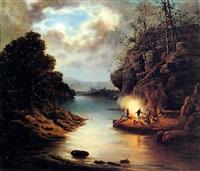 notturno con chiaro di luna su un fiume e figure intorno a un falò by alessandro altamura