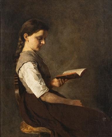 portrait eines sitzenden lesenden mädchens by german school southern 19