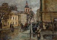 straßenszene in st. petersburg by vladimir pervuninsky