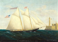 "the schooner ""h.b. metcalf"" off havana with fort la cabana in the distance by edward everard arnold"