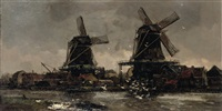 two windmills along a river by frans langeveld