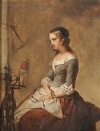 woman seated beside a spinning wheel by eugène françois de block
