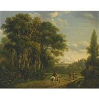 a horseman and figures on a country lane by charles towne
