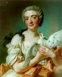 portrait of a woman as a vestal, holding a dove by pierre allais