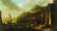 harbour scene with figures beside a quay by jacobus balthasar peeters