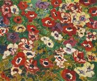parterre de fleurs, anémones by louis valtat