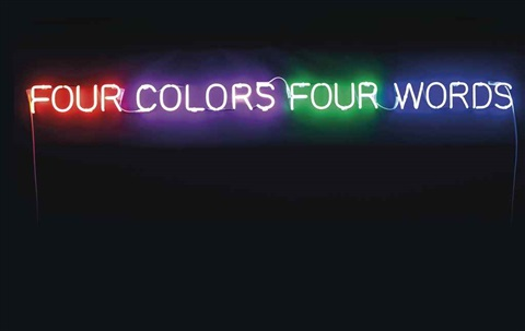 four colors four words orange violet green blue by joseph kosuth